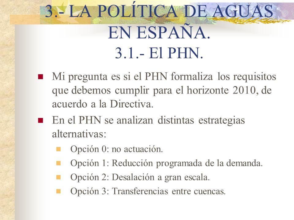 3.- LA POLÍTICA DE AGUAS EN ESPAÑA. 3.1.- El PHN. Mi pregunta es si el PHN formaliza los requisitos que debemos cumplir para el horizonte 2010, de acu