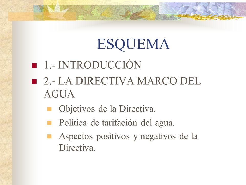 ESQUEMA 1.- INTRODUCCIÓN 2.- LA DIRECTIVA MARCO DEL AGUA Objetivos de la Directiva. Política de tarifación del agua. Aspectos positivos y negativos de