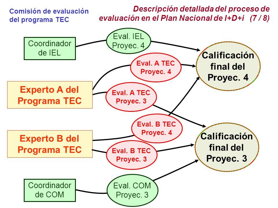 Descripción detallada del proceso de evaluación en el Plan Nacional de I+D+i (7 / 8) Coordinador de IEL Eval.