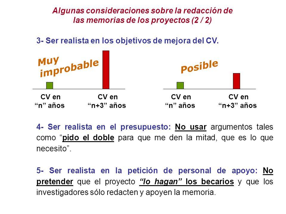 Algunas consideraciones sobre la redacción de las memorias de los proyectos (2 / 2) 3- Ser realista en los objetivos de mejora del CV.