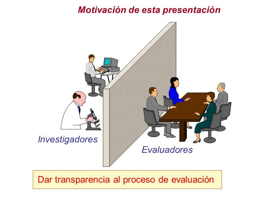 Motivación de esta presentación Investigadores Evaluadores Dar transparencia al proceso de evaluación