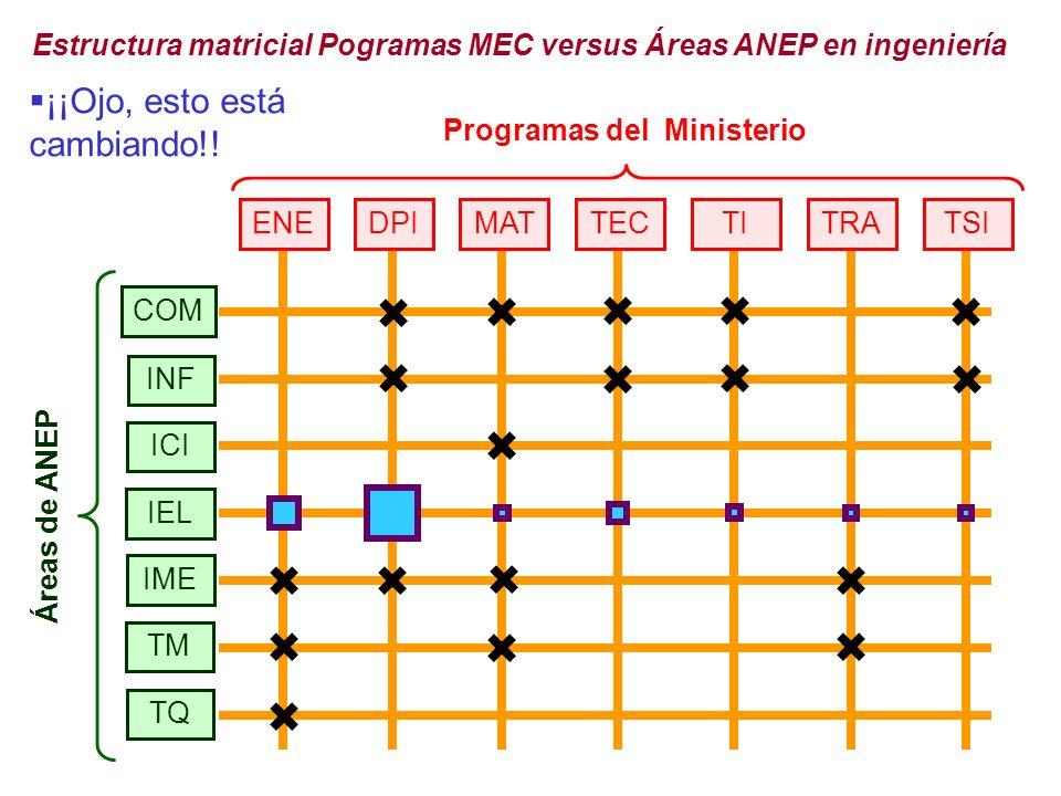 TQ INF ICI IEL IME COM TM Áreas de ANEP Programas del Ministerio ENEDPITECTSITITRAMAT Estructura matricial Pogramas MEC versus Áreas ANEP en ingeniería ¡¡Ojo, esto está cambiando!!