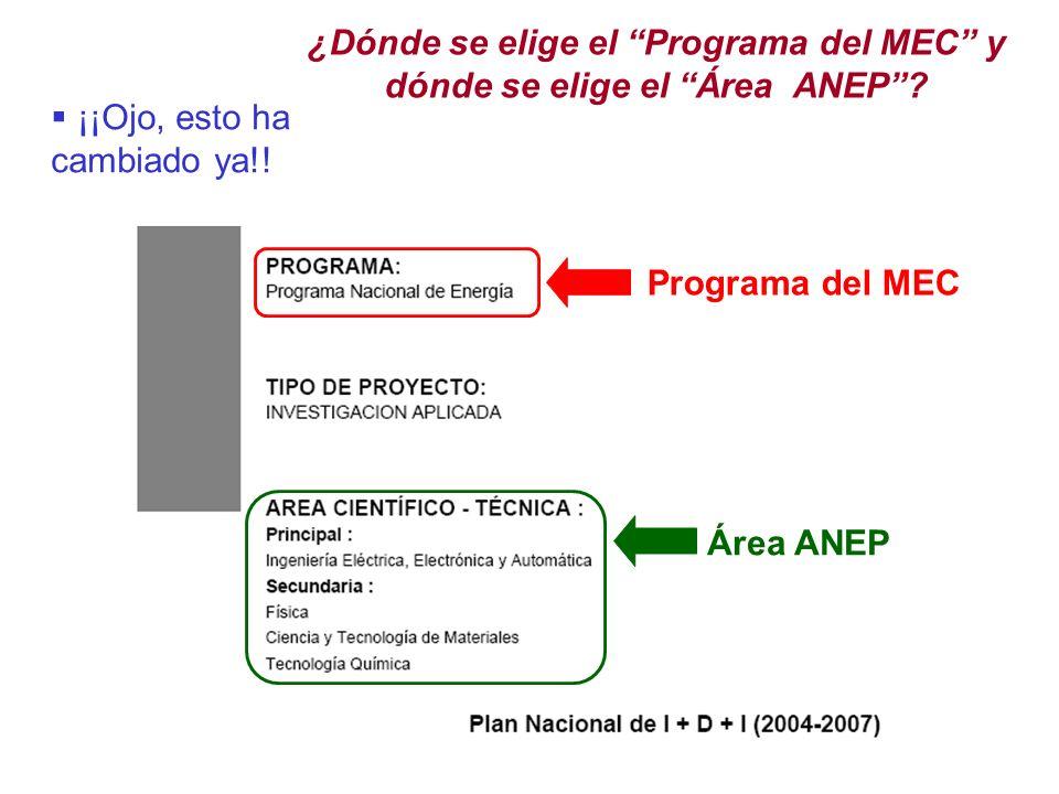 ¿Dónde se elige el Programa del MEC y dónde se elige el Área ANEP.