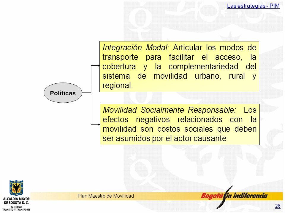26 Plan Maestro de Movilidad Las estrategias - PIM Integración Modal: Articular los modos de transporte para facilitar el acceso, la cobertura y la co