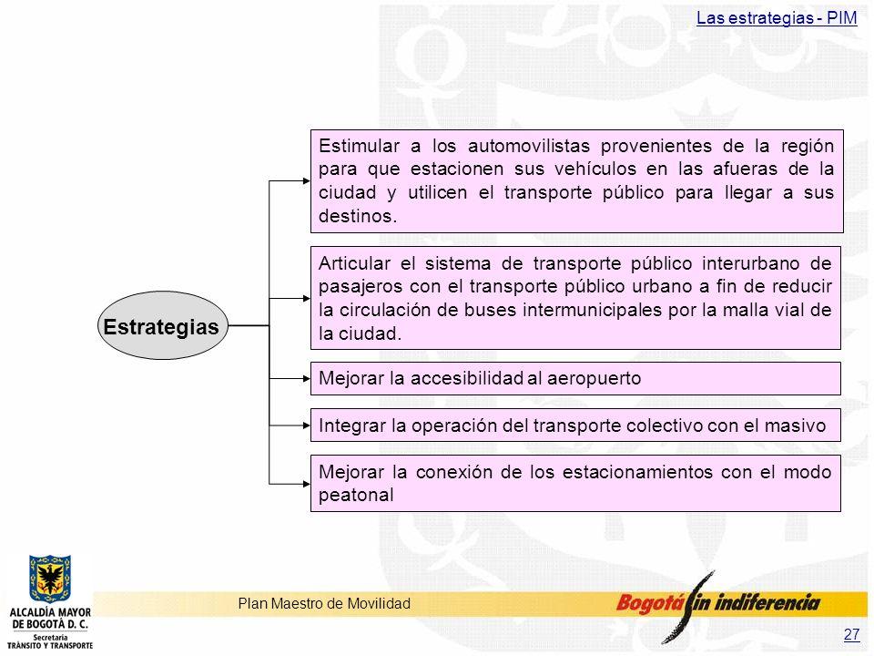 27 Plan Maestro de Movilidad Estimular a los automovilistas provenientes de la región para que estacionen sus vehículos en las afueras de la ciudad y