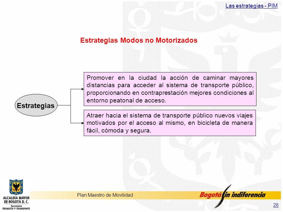 28 Plan Maestro de Movilidad Estrategias Modos no Motorizados Promover en la ciudad la acción de caminar mayores distancias para acceder al sistema de
