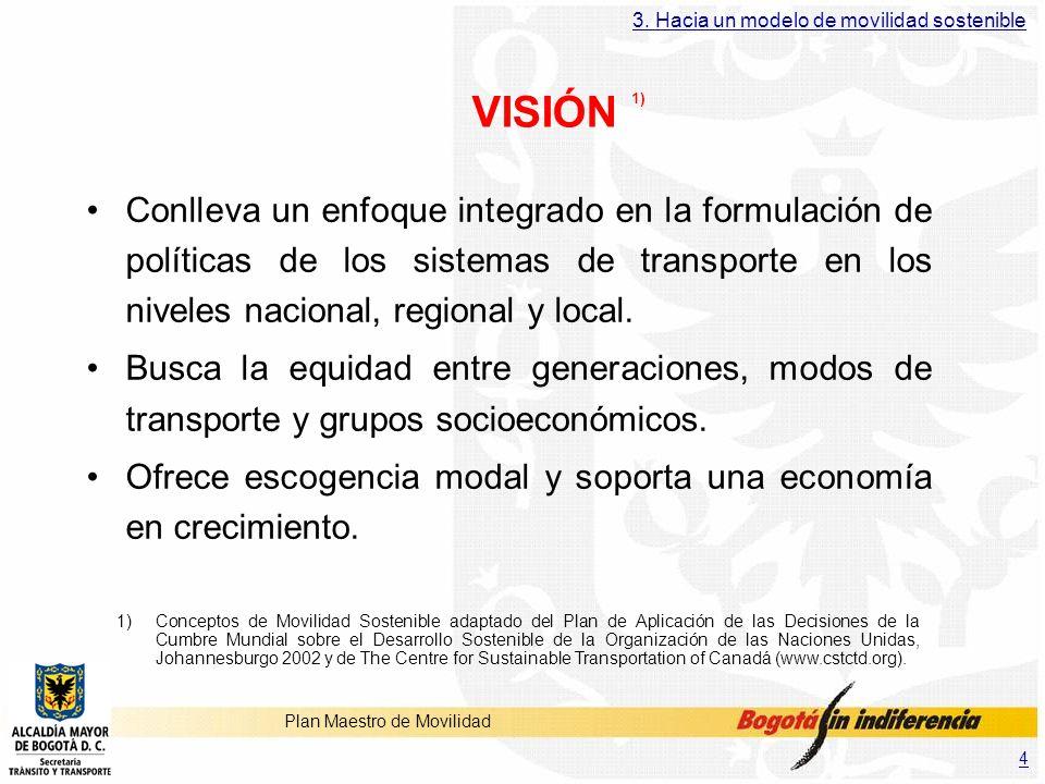 4 Plan Maestro de Movilidad VISIÓN 1) Conlleva un enfoque integrado en la formulación de políticas de los sistemas de transporte en los niveles nacion