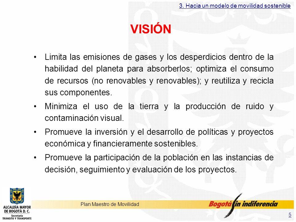5 Plan Maestro de Movilidad VISIÓN Limita las emisiones de gases y los desperdicios dentro de la habilidad del planeta para absorberlos; optimiza el c