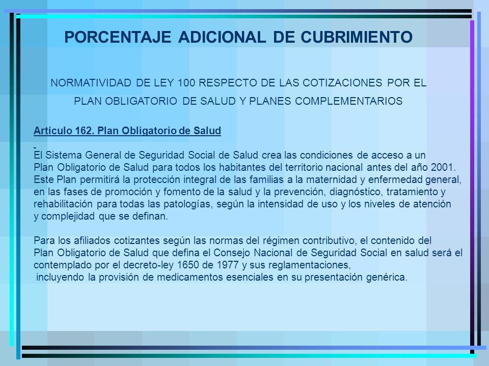 NORMATIVIDAD DE LEY 100 RESPECTO DE LAS COTIZACIONES POR EL PLAN OBLIGATORIO DE SALUD Y PLANES COMPLEMENTARIOS Artículo 162.