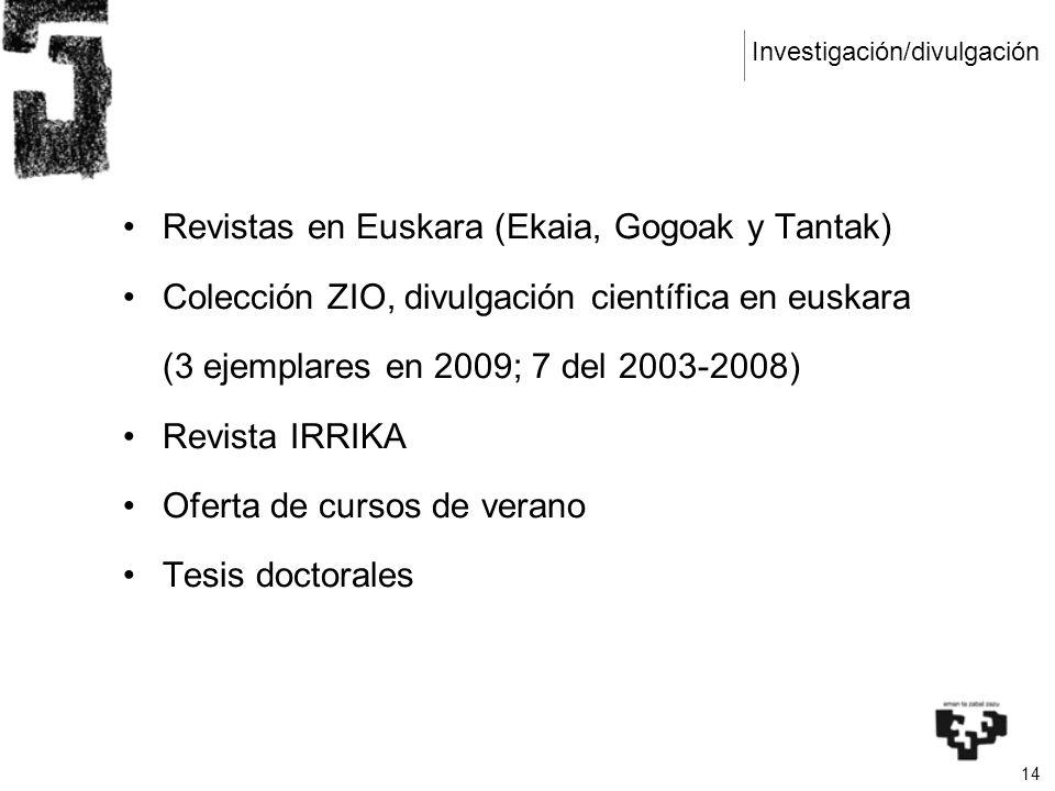 14 Revistas en Euskara (Ekaia, Gogoak y Tantak) Colección ZIO, divulgación científica en euskara (3 ejemplares en 2009; 7 del 2003-2008) Revista IRRIKA Oferta de cursos de verano Tesis doctorales Investigación/divulgación
