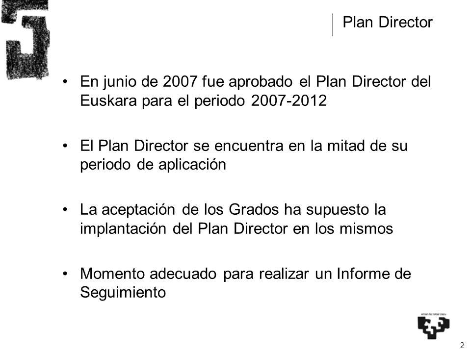 2 En junio de 2007 fue aprobado el Plan Director del Euskara para el periodo 2007-2012 El Plan Director se encuentra en la mitad de su periodo de aplicación La aceptación de los Grados ha supuesto la implantación del Plan Director en los mismos Momento adecuado para realizar un Informe de Seguimiento Plan Director