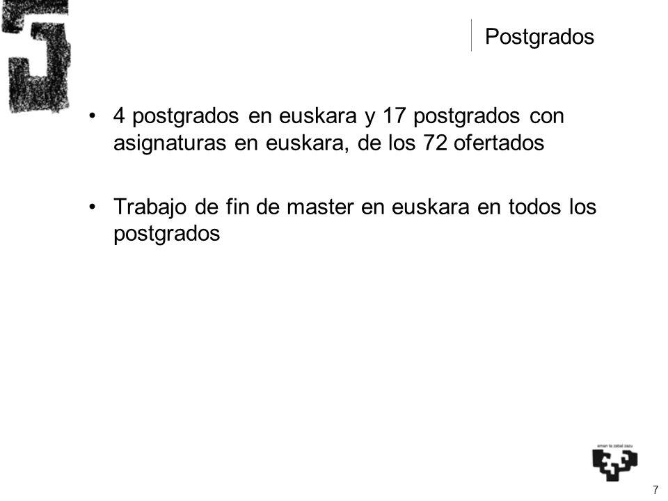 7 4 postgrados en euskara y 17 postgrados con asignaturas en euskara, de los 72 ofertados Trabajo de fin de master en euskara en todos los postgrados Postgrados