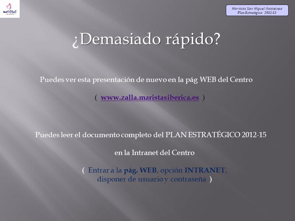 Maristas San Miguel Ikastetxea Plan Estratégico 2012-15 Demasiado rápido ¿Demasiado rápido.