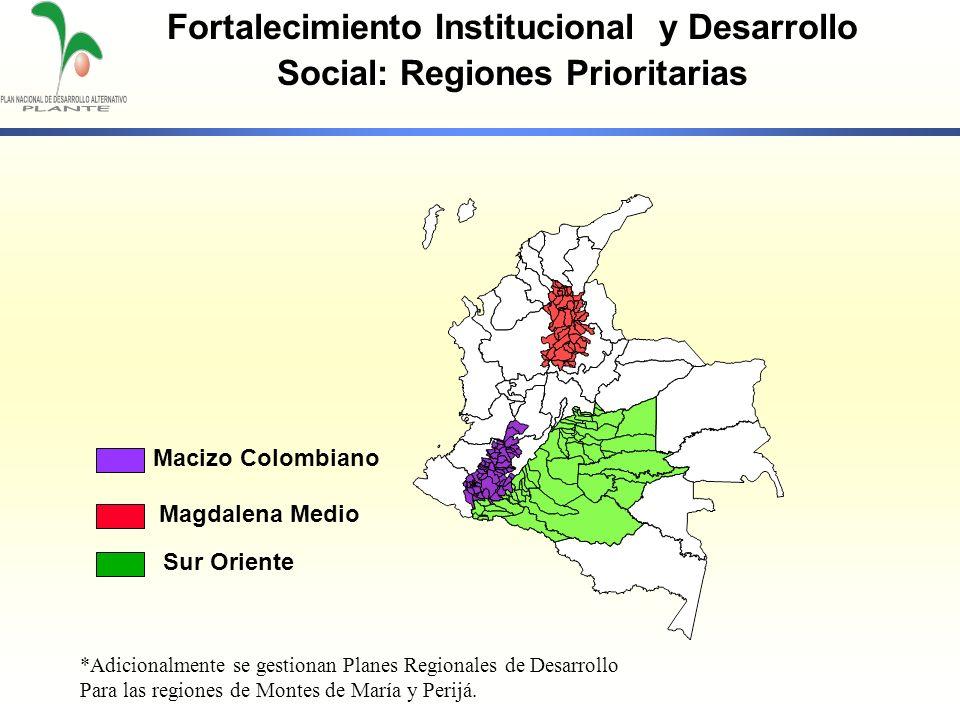 Fortalecimiento Institucional y Desarrollo Social: Regiones Prioritarias Macizo Colombiano Magdalena Medio Sur Oriente *Adicionalmente se gestionan Pl
