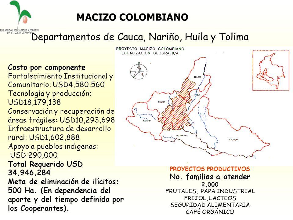 MACIZO COLOMBIANO PROYECTOS PRODUCTIVOS No. familias a atender 2,000 FRUTALES, PAPA INDUSTRIAL FRIJOL, LACTEOS SEGURIDAD ALIMENTARIA CAFÉ ORGÁNICO Dep