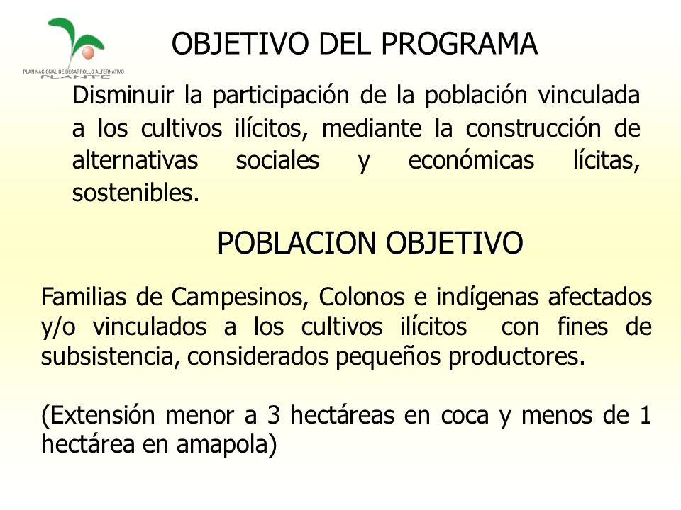 OBJETIVO DEL PROGRAMA Disminuir la participación de la población vinculada a los cultivos ilícitos, mediante la construcción de alternativas sociales