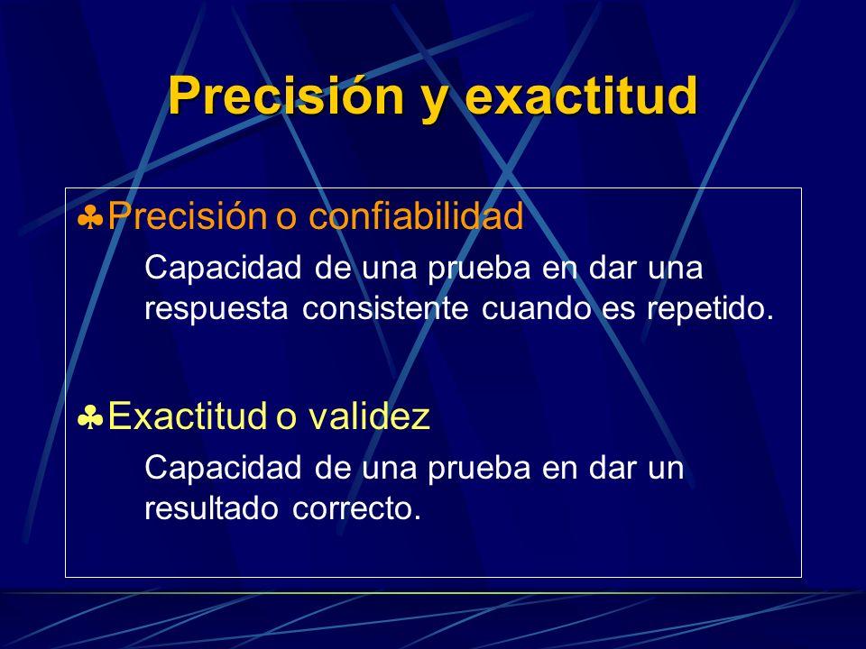 Precisión y exactitud Precisión o confiabilidad Capacidad de una prueba en dar una respuesta consistente cuando es repetido.