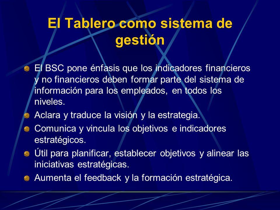 El Tablero como sistema de gestión El BSC pone énfasis que los indicadores financieros y no financieros deben formar parte del sistema de información para los empleados, en todos los niveles.
