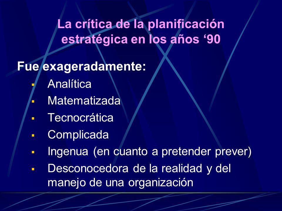 Fue exageradamente: Analítica Matematizada Tecnocrática Complicada Ingenua (en cuanto a pretender prever) Desconocedora de la realidad y del manejo de una organización La crítica de la planificación estratégica en los años 90