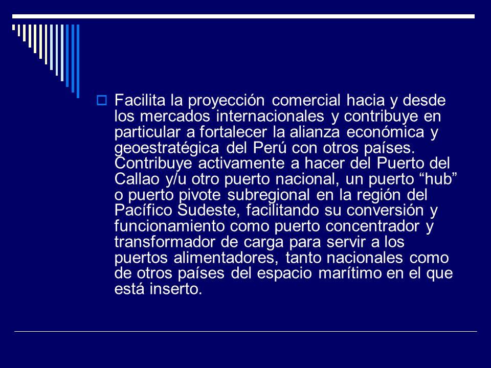 Una interrogante importante La cuestión es si se debe considerar la expansión del Callao para brindarle capacidad sólo para atender la carga proveniente de su zona de influencia o hinterland, o si se debe añadirle capacidad adicional para actuar como centro subregional y exportar servicios portuarios.