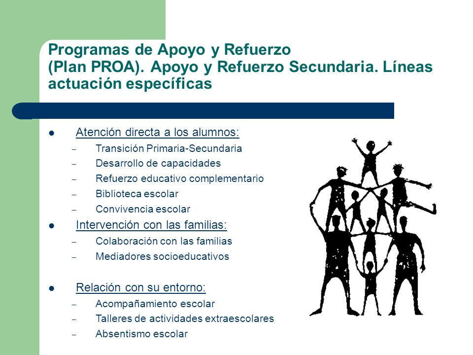 Programas de Apoyo y Refuerzo (Plan PROA). Apoyo y Refuerzo Secundaria. Líneas actuación específicas Atención directa a los alumnos: – Transición Prim