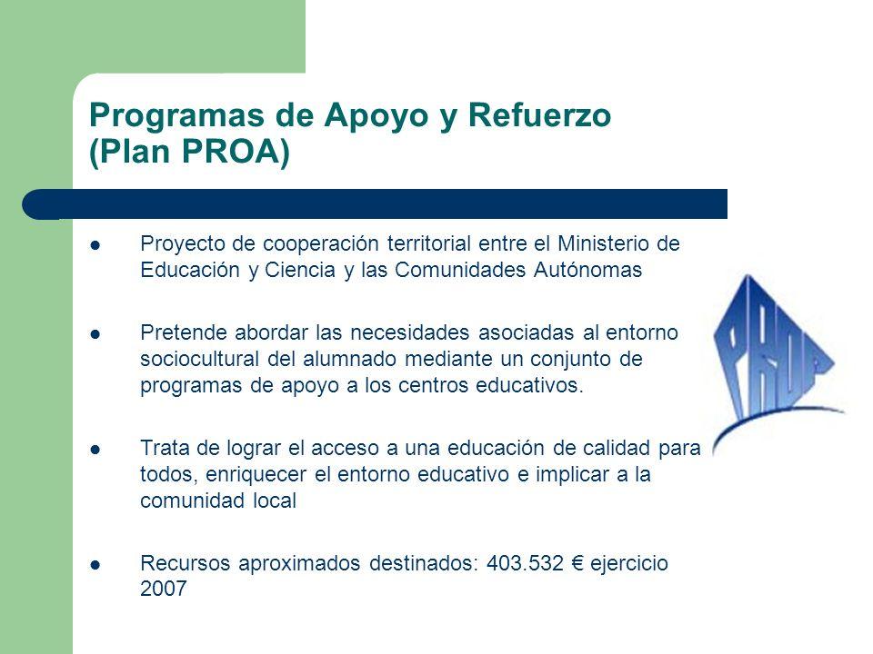 Proyecto de cooperación territorial entre el Ministerio de Educación y Ciencia y las Comunidades Autónomas Pretende abordar las necesidades asociadas al entorno sociocultural del alumnado mediante un conjunto de programas de apoyo a los centros educativos.