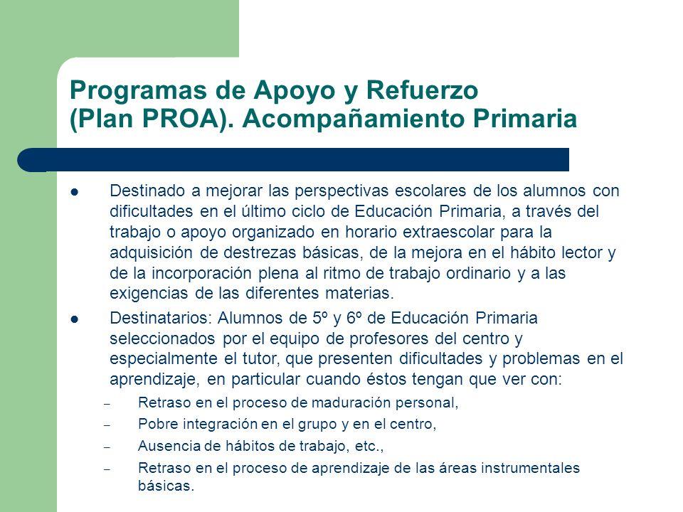 Programas de Apoyo y Refuerzo (Plan PROA). Acompañamiento Primaria Destinado a mejorar las perspectivas escolares de los alumnos con dificultades en e
