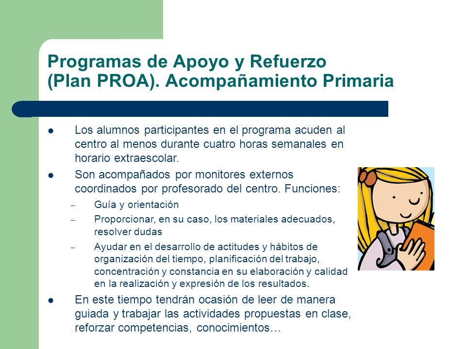 Programas de Apoyo y Refuerzo (Plan PROA). Acompañamiento Primaria Los alumnos participantes en el programa acuden al centro al menos durante cuatro h