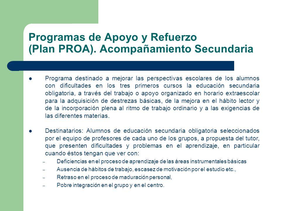 Programas de Apoyo y Refuerzo (Plan PROA). Acompañamiento Secundaria Programa destinado a mejorar las perspectivas escolares de los alumnos con dificu