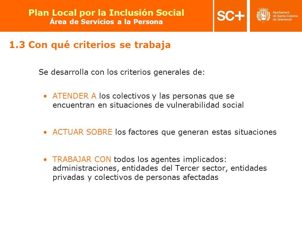 11 Pla Local per a la Inclusió Social Àrea de Serveis a la Persona 1.3 Con qué criterios se trabaja Se desarrolla con los criterios generales de: ATEN