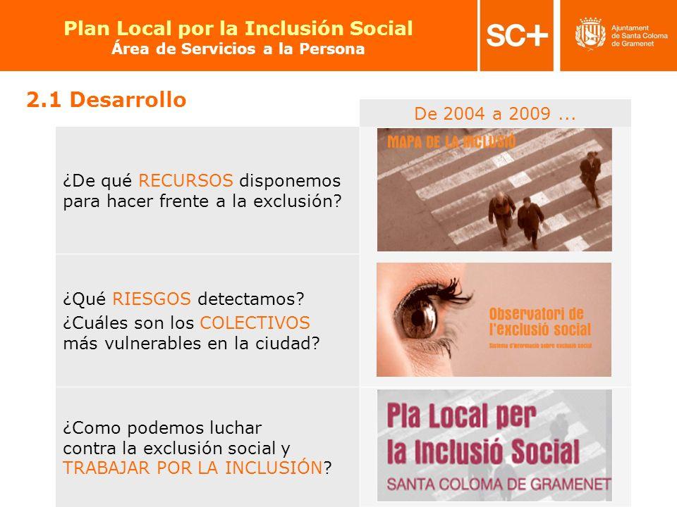 15 Pla Local per a la Inclusió Social Àrea de Serveis a la Persona De 2004 a 2009... ¿De qué RECURSOS disponemos para hacer frente a la exclusión? ¿Qu