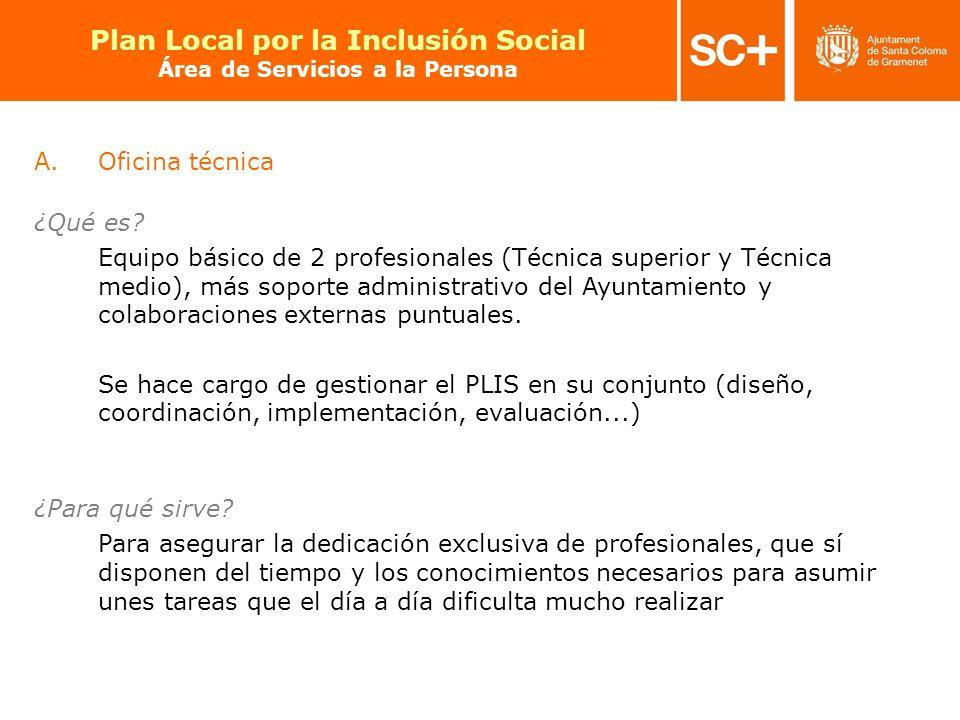 18 Pla Local per a la Inclusió Social Àrea de Serveis a la Persona A.Oficina técnica ¿Qué es? Equipo básico de 2 profesionales (Técnica superior y Téc