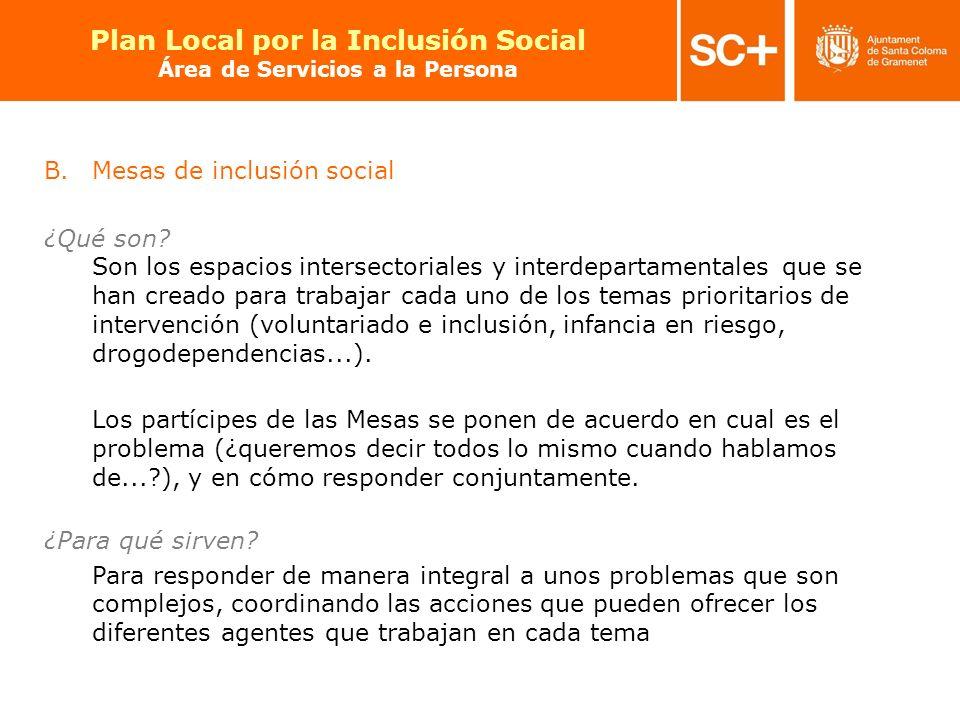19 Pla Local per a la Inclusió Social Àrea de Serveis a la Persona B.Mesas de inclusión social ¿Qué son? Son los espacios intersectoriales y interdepa