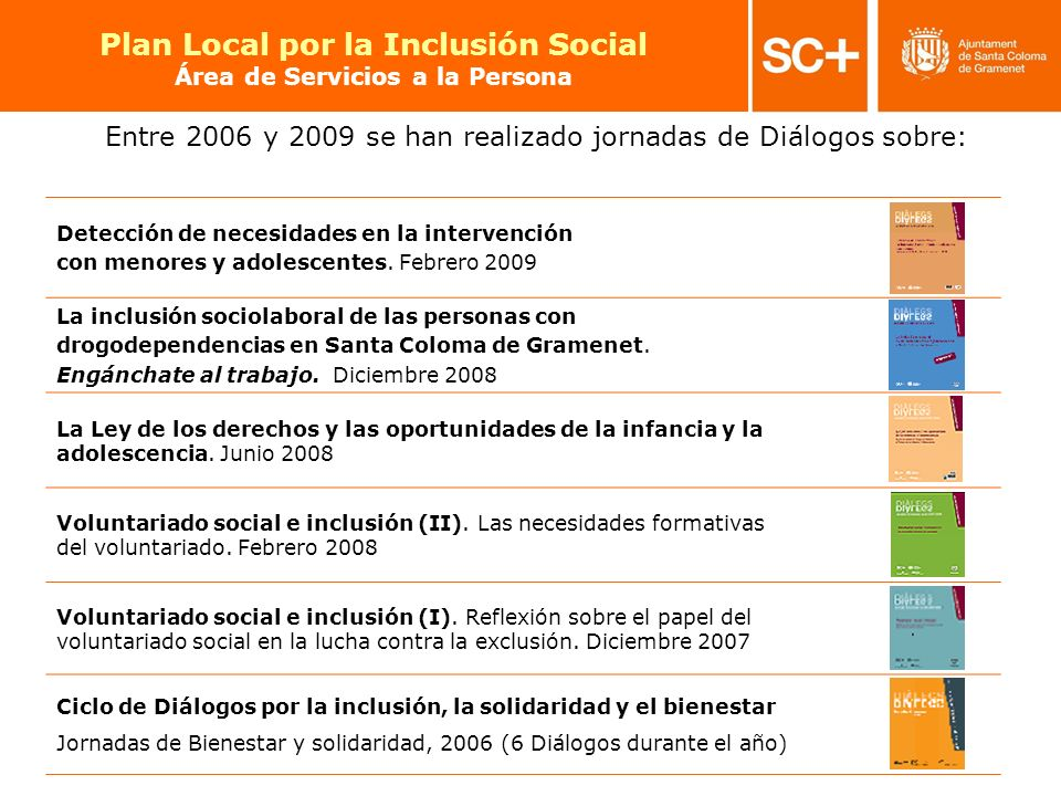23 Pla Local per a la Inclusió Social Àrea de Serveis a la Persona Entre 2006 y 2009 se han realizado jornadas de Diálogos sobre: Detección de necesid