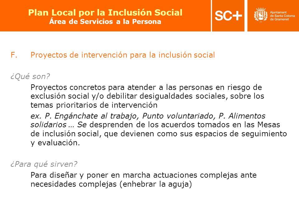 24 Pla Local per a la Inclusió Social Àrea de Serveis a la Persona F.Proyectos de intervención para la inclusión social ¿Qué son? Proyectos concretos