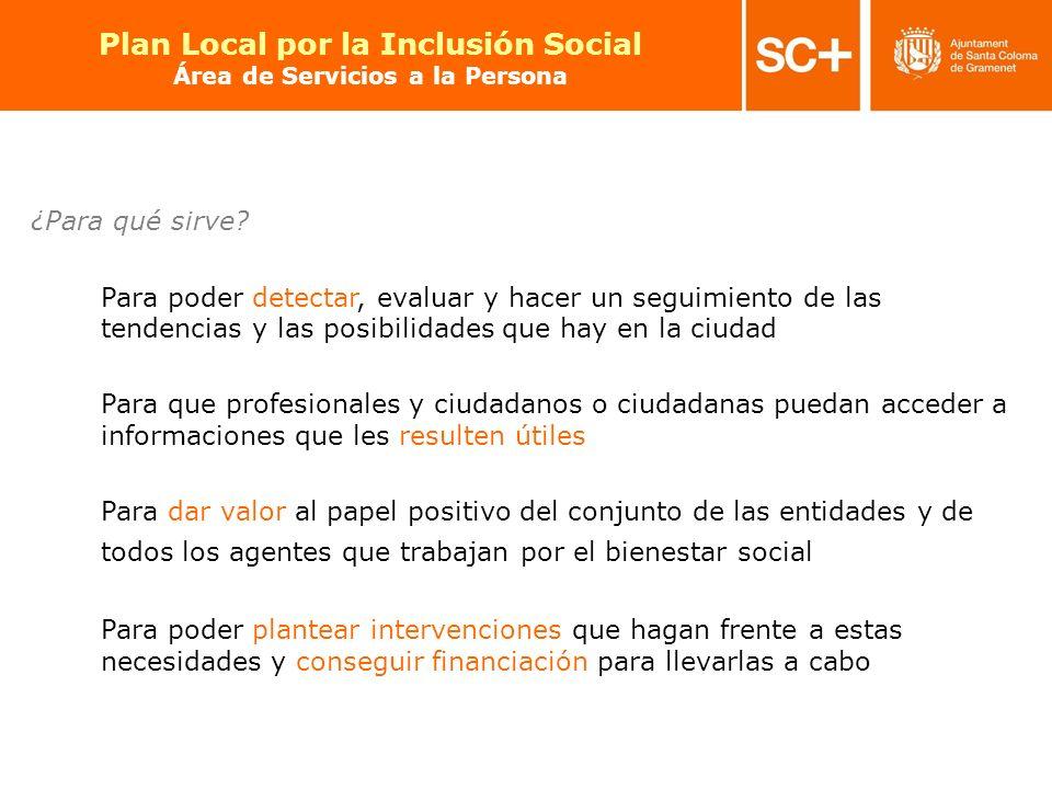 27 Pla Local per a la Inclusió Social Àrea de Serveis a la Persona ¿Para qué sirve? Para poder detectar, evaluar y hacer un seguimiento de las tendenc