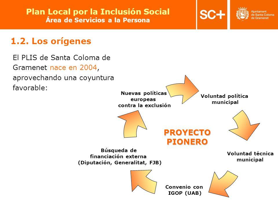 9 Pla Local per a la Inclusió Social Àrea de Serveis a la Persona PROYECTO PIONERO El PLIS de Santa Coloma de Gramenet nace en 2004, aprovechando una