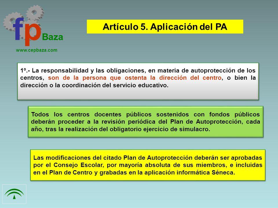 1º.- La responsabilidad y las obligaciones, en materia de autoprotección de los centros, son de la persona que ostenta la dirección del centro, o bien