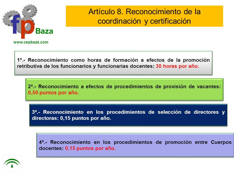 1º.- Reconocimiento como horas de formación a efectos de la promoción retributiva de los funcionarios y funcionarias docentes: 30 horas por año. fp Ba