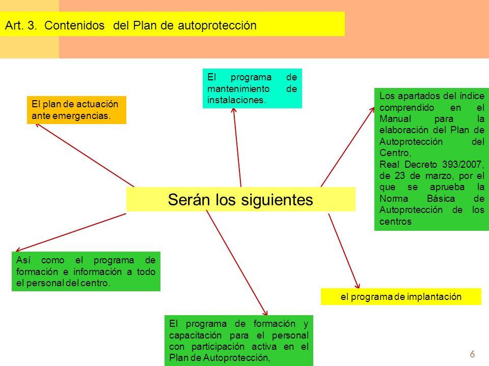 6 Serán los siguientes Art. 3. Contenidos del Plan de autoprotección Los apartados del índice comprendido en el Manual para la elaboración del Plan de