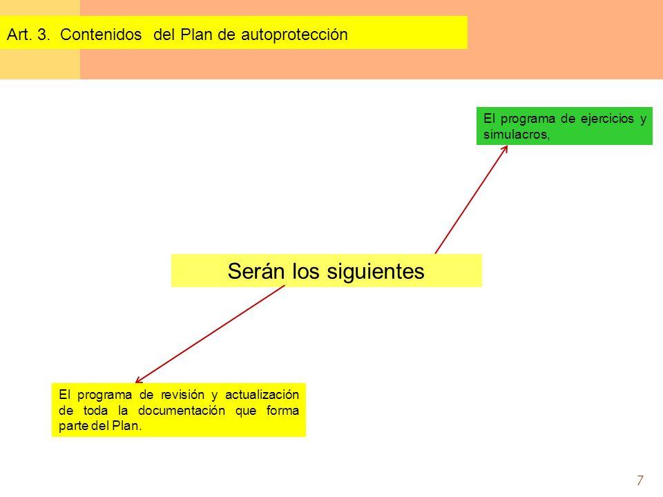 7 Serán los siguientes Art. 3. Contenidos del Plan de autoprotección El programa de ejercicios y simulacros, El programa de revisión y actualización d