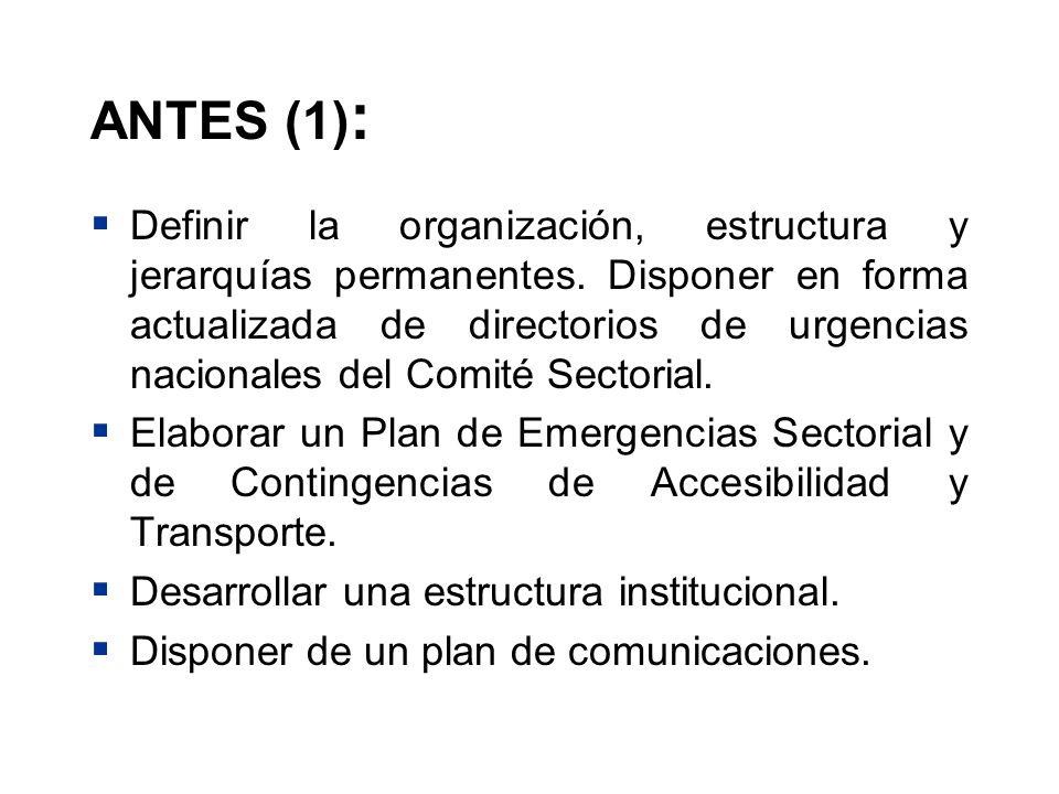 ANTES (1) : Definir la organización, estructura y jerarquías permanentes. Disponer en forma actualizada de directorios de urgencias nacionales del Com