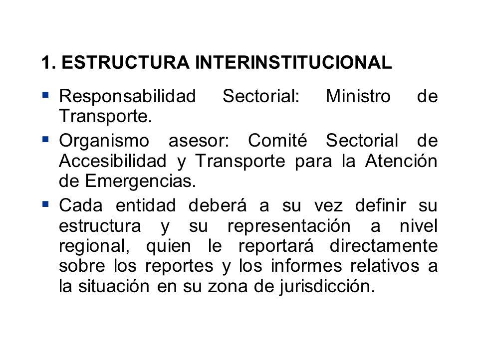 1. ESTRUCTURA INTERINSTITUCIONAL Responsabilidad Sectorial: Ministro de Transporte. Organismo asesor: Comité Sectorial de Accesibilidad y Transporte p