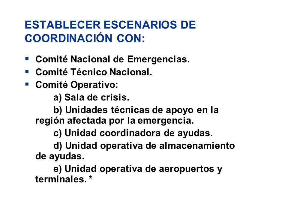 ESTABLECER ESCENARIOS DE COORDINACIÓN CON: Comité Nacional de Emergencias. Comité Técnico Nacional. Comité Operativo: a) Sala de crisis. b) Unidades t