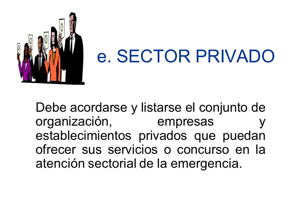e. SECTOR PRIVADO Debe acordarse y listarse el conjunto de organización, empresas y establecimientos privados que puedan ofrecer sus servicios o concu
