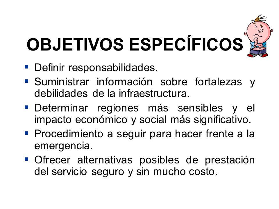 OBJETIVOS ESPECÍFICOS Definir responsabilidades. Suministrar información sobre fortalezas y debilidades de la infraestructura. Determinar regiones más
