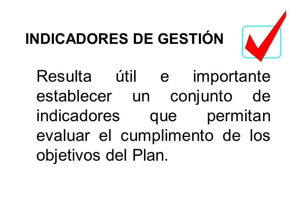 INDICADORES DE GESTIÓN Resulta útil e importante establecer un conjunto de indicadores que permitan evaluar el cumplimento de los objetivos del Plan.
