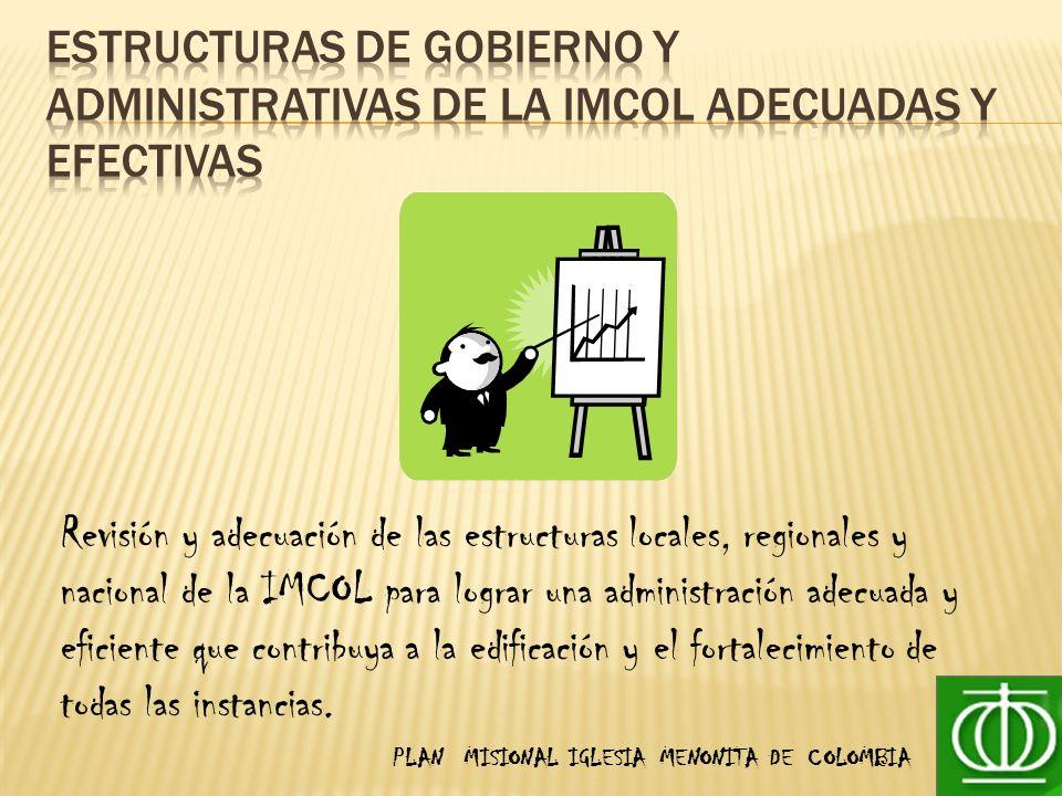 PLAN MISIONAL IGLESIA MENONITA DE COLOMBIA Revisión y adecuación de las estructuras locales, regionales y nacional de la IMCOL para lograr una administración adecuada y eficiente que contribuya a la edificación y el fortalecimiento de todas las instancias.