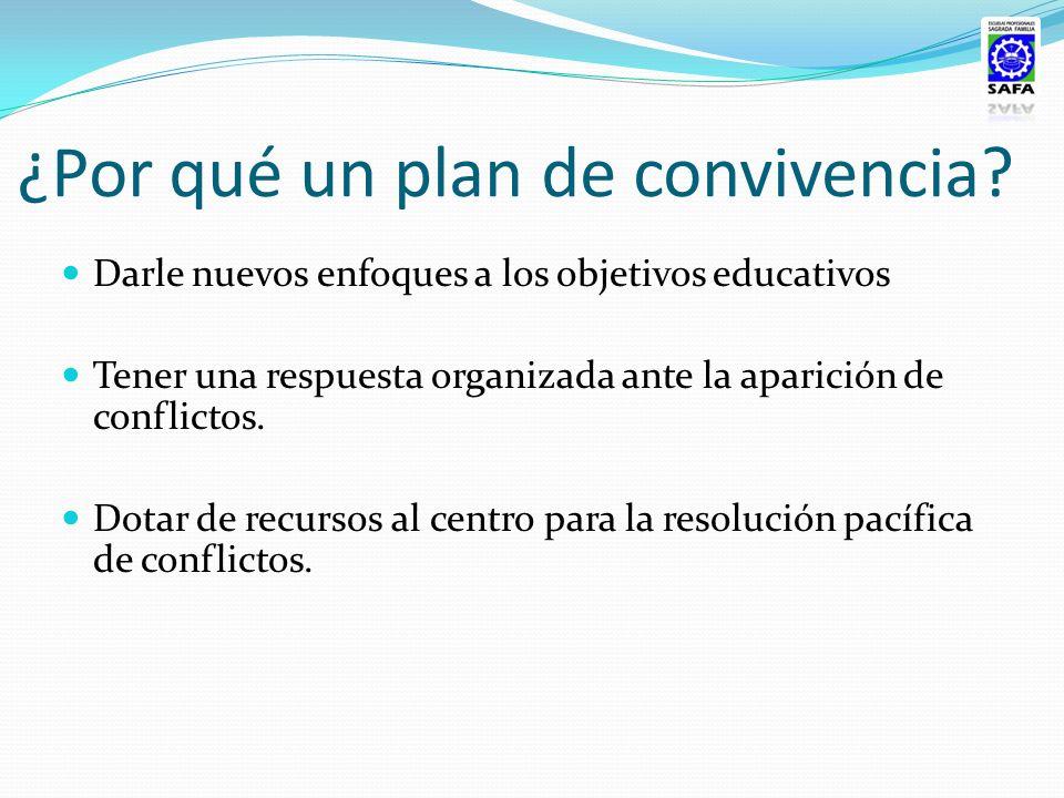 ¿Por qué un plan de convivencia? Darle nuevos enfoques a los objetivos educativos Tener una respuesta organizada ante la aparición de conflictos. Dota