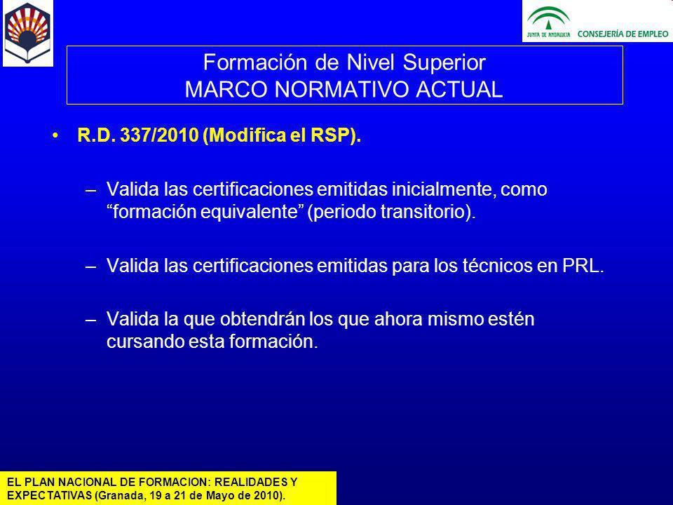 EL PLAN NACIONAL DE FORMACION: REALIDADES Y EXPECTATIVAS (Granada, 19 a 21 de Mayo de 2010).